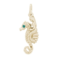 Rembrandt Mermaid On Seahorse Charm, Gold Plated Silver