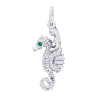 Rembrandt Mermaid On Seahorse Charm, Sterling Silver