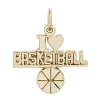 Rembrandt Basketball Charm, Gold Plated Silver