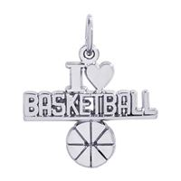Rembrandt Basketball Charm, 14K White Gold