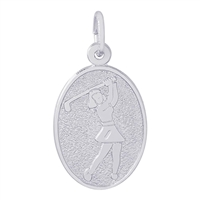 Rembrandt Female Golfer Charm, Sterling Silver