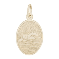 Rembrandt Swimmer Charm, Gold Plated Silver