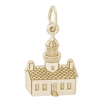 Rembrandt Point Loma California Lighthouse Charm, Gold Plated Silver