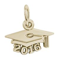 Rembrandt Grad Cap 2016 Charm, Gold Plated Silver