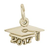 Rembrandt Grad Cap 2017 Charm, Gold Plated Silver