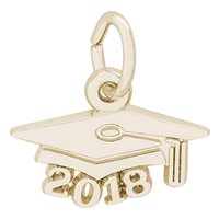 Rembrandt Grad Cap 2018 Charm, Gold Plated Silver