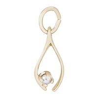 Rembrandt Wishbone Charm, Gold Plated Silver
