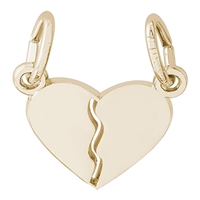 Rembrandt Heart Charm, Gold Plated Silver