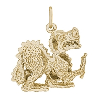 Rembrandt Dragon Charm, Gold Plated Silver