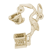 Rembrandt Stork, Twins Charm, 10K Yellow Gold