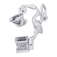 Rembrandt Stork, Twins Charm, Sterling Silver