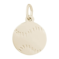 Rembrandt Baseball Charm, Gold Plated Silver