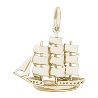 Rembrandt Sailboat Charm, Gold Plated Silver