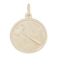 Rembrandt Gavel Charm, Gold Plated Silver