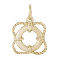 Rembrandt Life Preserver Charm, Gold Plated Silver