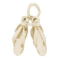 Rembrandt Flip Flops Charm, Gold Plated Silver