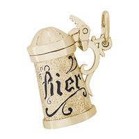 Rembrandt Beer Stein Charm, 10K Yellow Gold