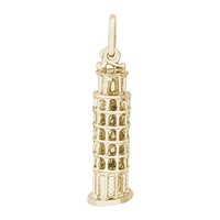 Rembrandt Leaning Tower Of Pisa Charm, Gold Plated Silver