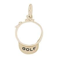Rembrandt Golf Visor Charm, Gold Plated Silver
