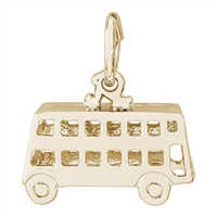 Rembrandt Double Decker Bus Charm, Gold Plated Silver