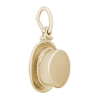Rembrandt Top Hat Charm, Gold Plated Silver