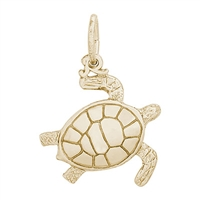 Rembrandt Sea Turtle Charm, Gold Plated Silver