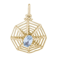 Rembrandt Spiderweb Charm, Gold Plated Silver