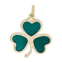 Rembrandt Shamrock w/ Green Paint Charm, Gold Plated Silver