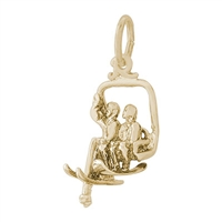 Rembrandt Ski Lift Charm, Gold Plated Silver