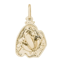 Rembrandt Frog On Lily Pad Charm, Gold Plated Silver