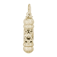 Rembrandt Mezuzah Charm, Gold Plated Silver