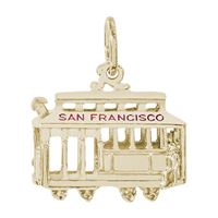 Rembrandt San Francisco Cable Car Charm, Gold Plated Silver