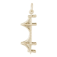 Rembrandt Golden Gate Bridge Charm, Gold Plated Silver