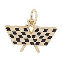 Rembrandt Racing Flag Charm, 14K Yellow Gold
