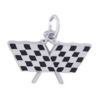 Rembrandt Racing Flag Charm, 14K White Gold