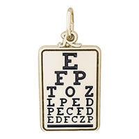 Rembrandt Eye Chart Charm, Gold Plated Silver