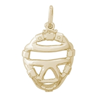 Rembrandt Catcher's Mask Charm, Gold Plated Silver