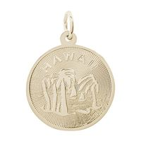 Rembrandt Hawaii Palm Tree Charm, Gold Plated Silver
