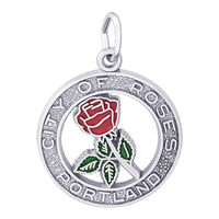 Rembrandt Portland City Of Roses Charm, 14K White Gold