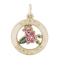 Rembrandt North Carolina Azalea Charm, Gold Plated Silver