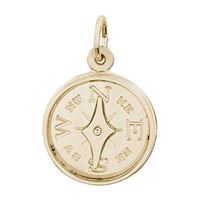 Rembrandt Compass Charm, Gold Plated Silver
