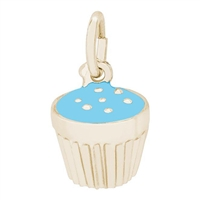 Rembrandt Blue Cupcake Charm, Gold Plated Silver