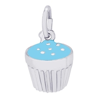 Rembrandt Blue Cupcake Charm, Sterling Silver