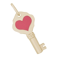 Rembrandt  Key w/ Red Heart Charm, Gold Plated Silver