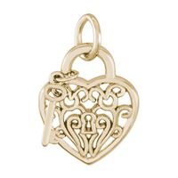Rembrandt Heart w/ Key 2D Charm, Gold Plated Silver