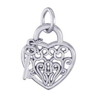 Rembrandt Heart w/ Key 2D Charm, Sterling Silver