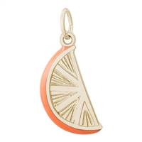 Rembrandt Orange Slice Charm, Gold Plated Silver