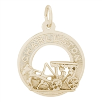 Rembrandt Charleston Carriage Charm, Gold Plated Silver