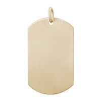 Rembrandt Dog Tag Satin Finish Charm, Gold Plated Silver