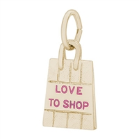 Rembrandt Shopping Bag w/ Pink Paint Charm, Gold Plated Silver